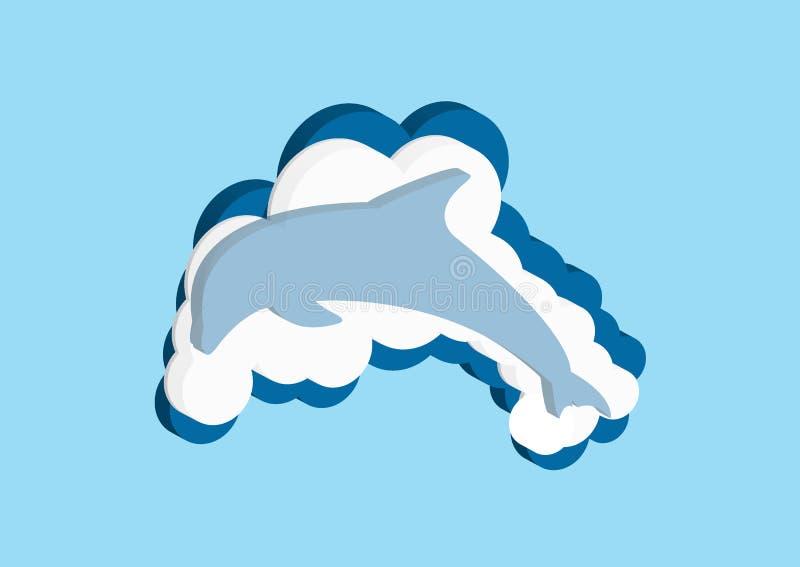 Vector il colore blu e bianco della nuvola delle icone su un fondo blu Il cielo è una collezione densa di illust illustrazione vettoriale