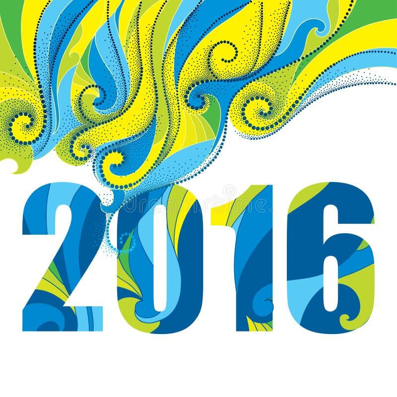 Vector il concetto con i numeri 2016 ed i turbinii punteggiati estratto su bianco Fondo per Rio 2016, Brasile illustrazione di stock