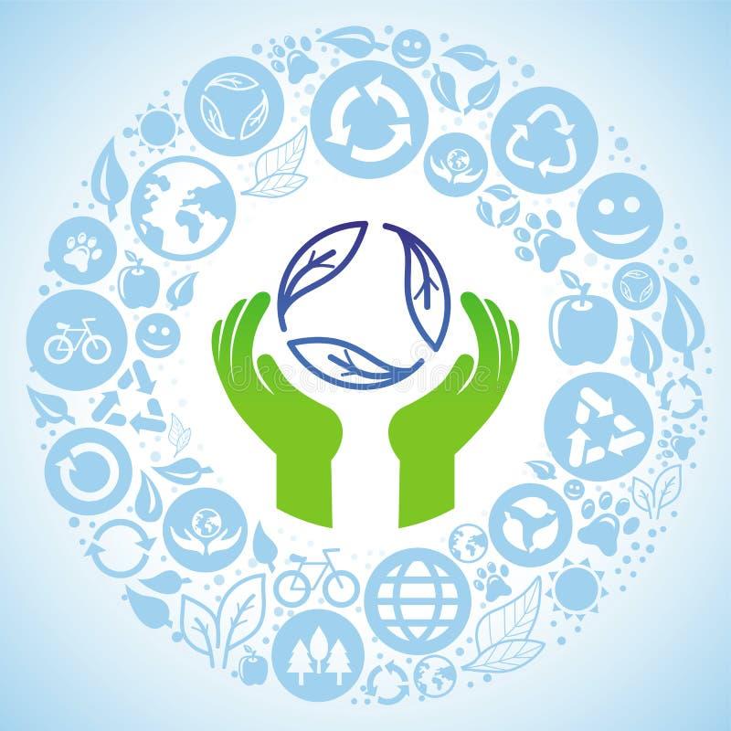 Vector il concetto dell'ecologia - mani e ricicli il segno illustrazione vettoriale