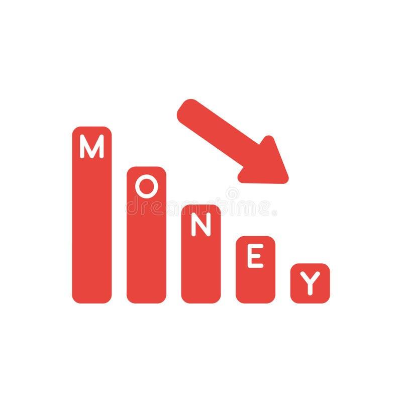 Vector il concetto dell'icona dell'istogramma dei soldi che si abbassa illustrazione di stock