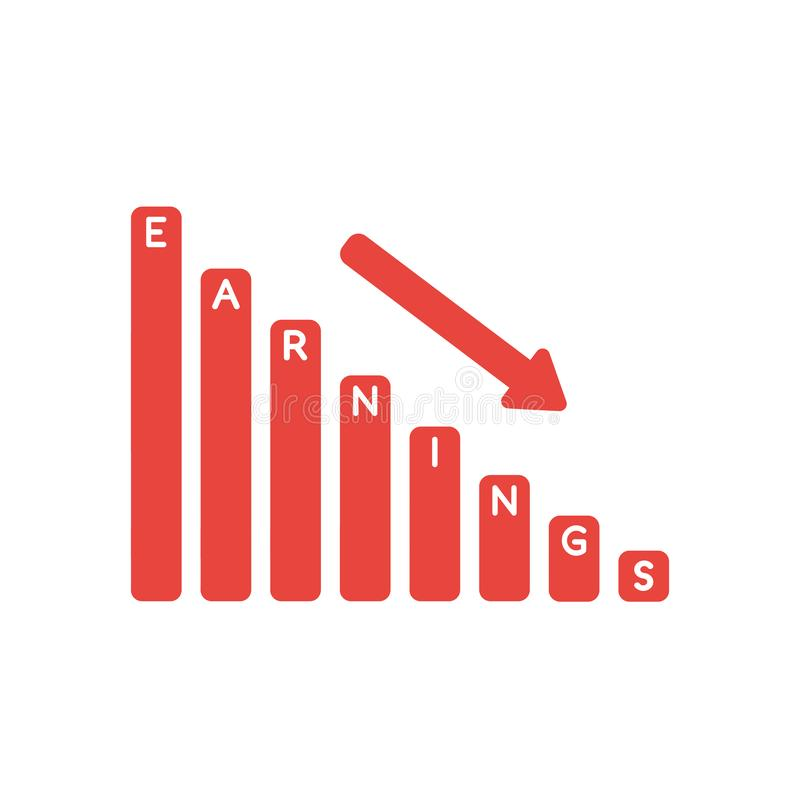 Vector il concetto dell'icona dell'istogramma di vendite dei guadagni che si abbassa illustrazione vettoriale