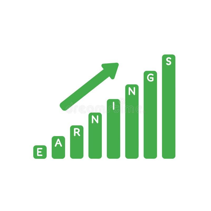 Vector il concetto dell'icona dell'istogramma di vendite dei guadagni che si alza illustrazione di stock