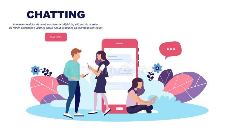 Vector il concetto dell'illustrazione dei apps e dei servizi mobili Progettazione piana creativa per l'insegna di web, materiale  royalty illustrazione gratis