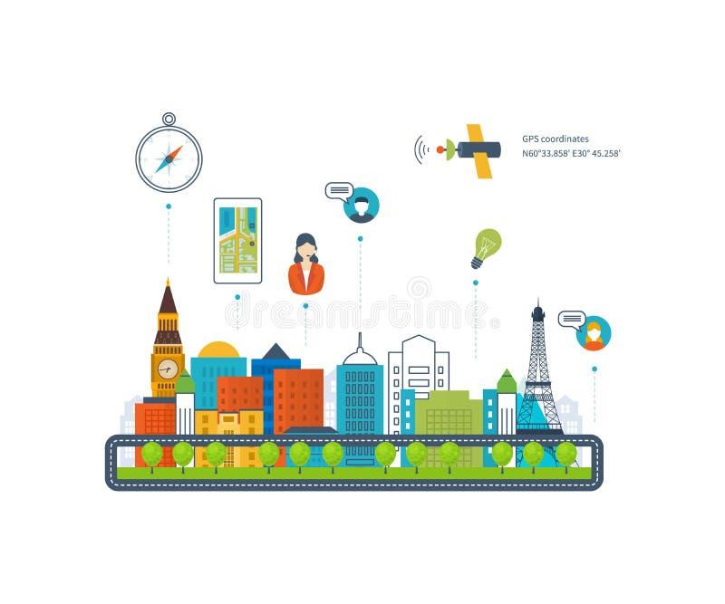 Vector il concetto dell'illustrazione dello Smart Phone della tenuta con navigazione mobile illustrazione vettoriale
