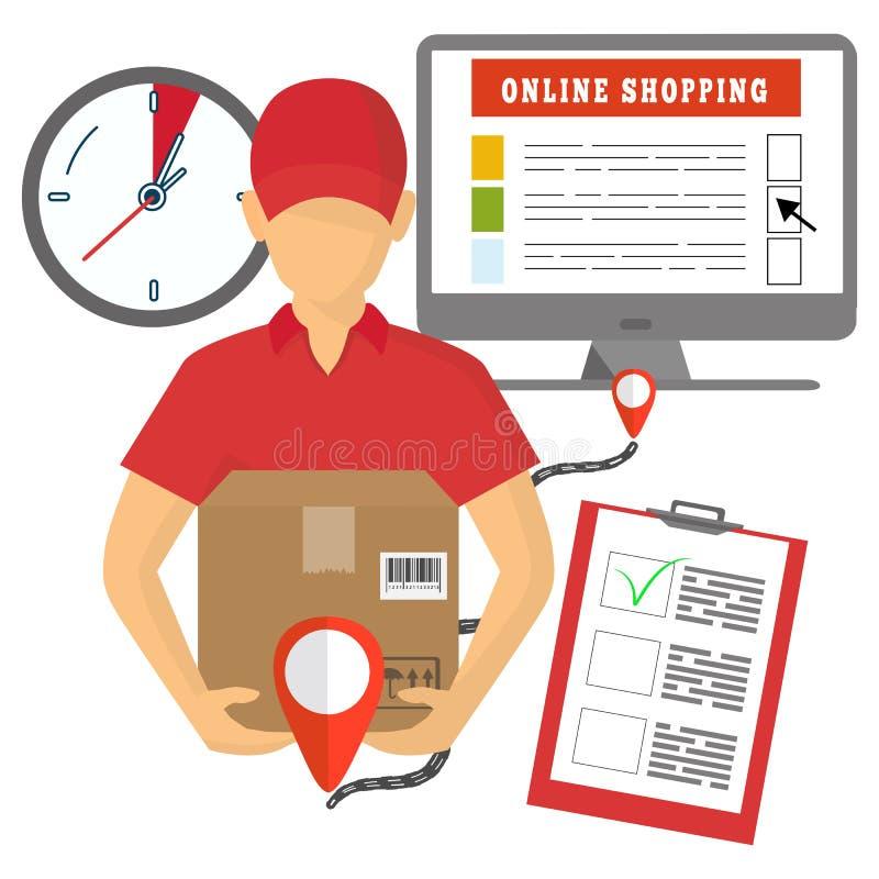 Vector il concetto della consegna, dell'introduzione sul mercato mobile e dell'acquisto online illustrazione vettoriale
