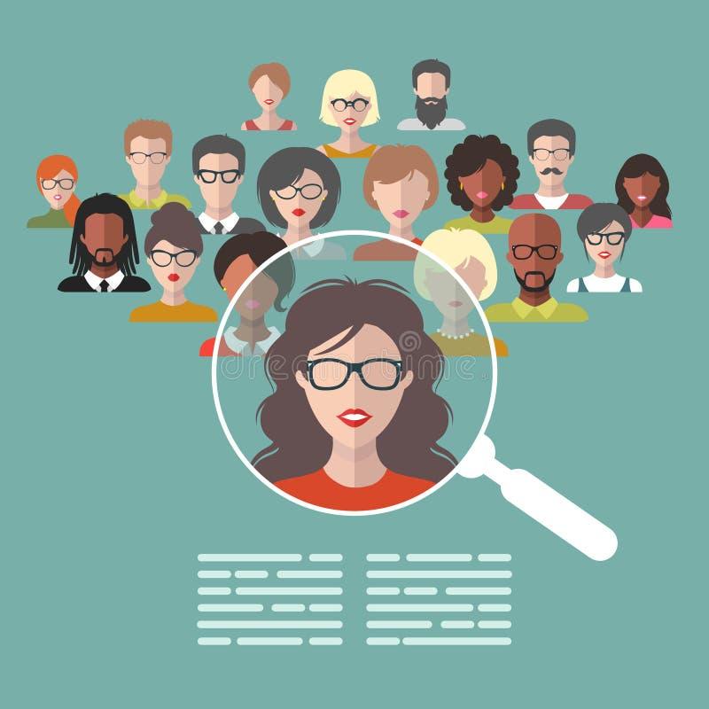 Vector il concetto della gestione di risorse umane, la ricerca dei professionisti, lavoro capo del cacciatore con la lente d'ingr illustrazione di stock