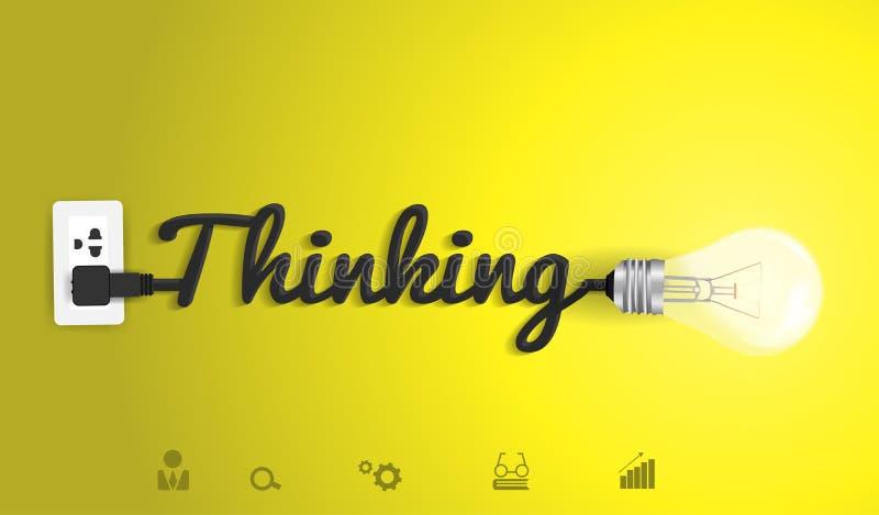 Vector il concetto di pensiero con la lampadina creativa i royalty illustrazione gratis