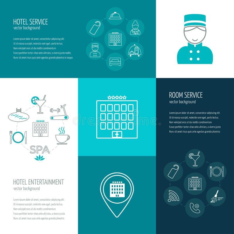 Vector il concetto di servizio degli esercizi alberghieri, lo spettacolo, servizio in camera Le icone nella progettazione piana c
