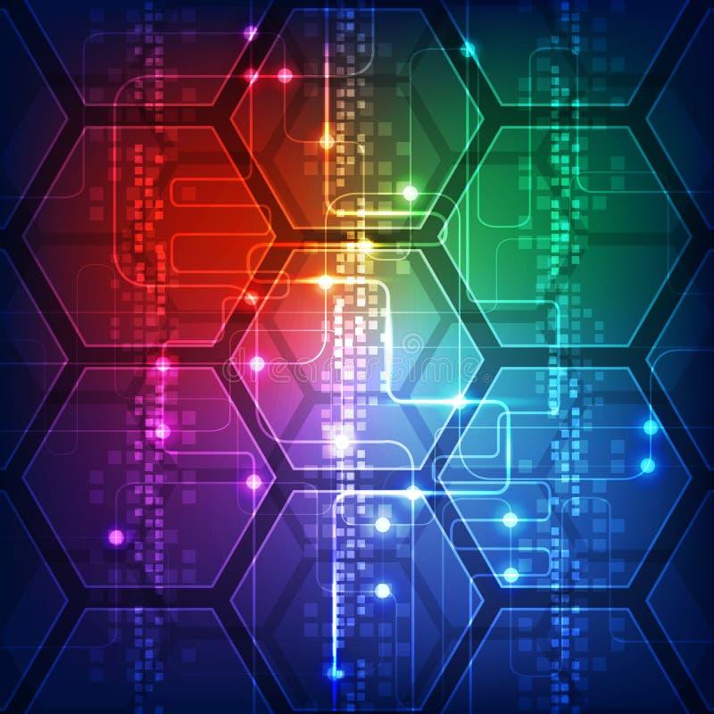 Vector il concetto di tecnologia digitale di Ciao-tecnologia dell'illustrazione, fondo astratto illustrazione di stock