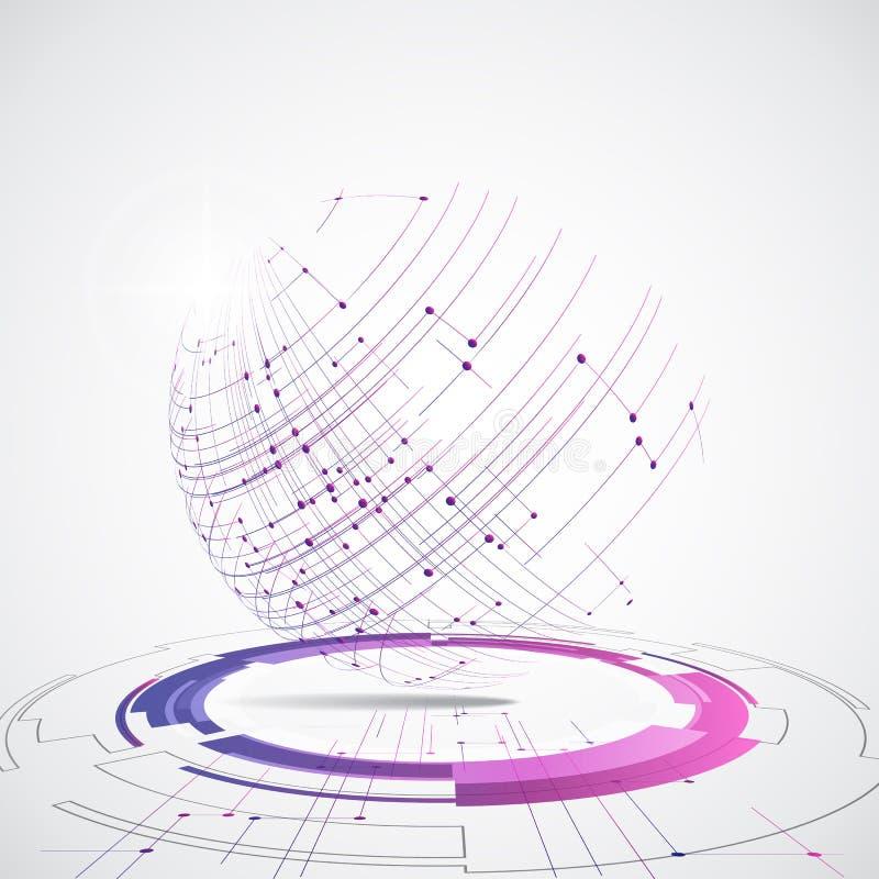 Vector il concetto globale digitale della tecnologia, illustrazione astratta del fondo illustrazione di stock