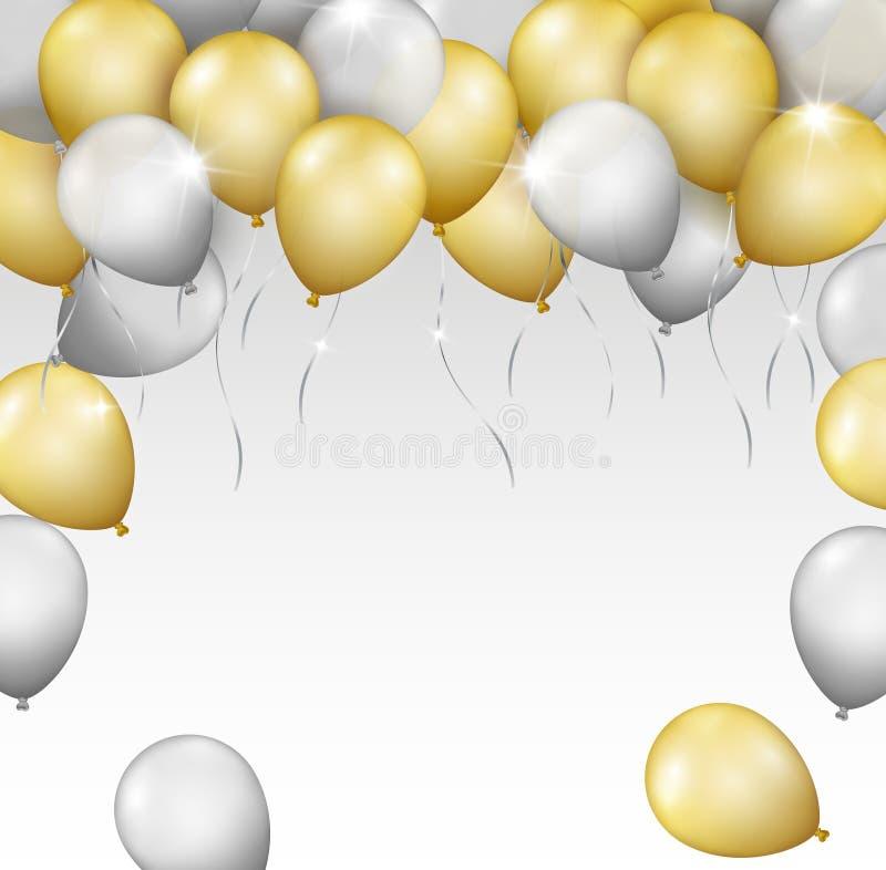 Vector il confine o la struttura brillante realistico dei palloni di volo per il vostro royalty illustrazione gratis