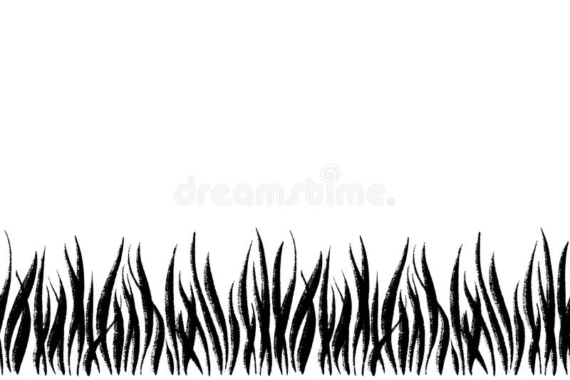 Vector il confine senza cuciture con l'erba del disegno dell'inchiostro, l'illustrazione botanica artistica, elementi floreali is illustrazione di stock