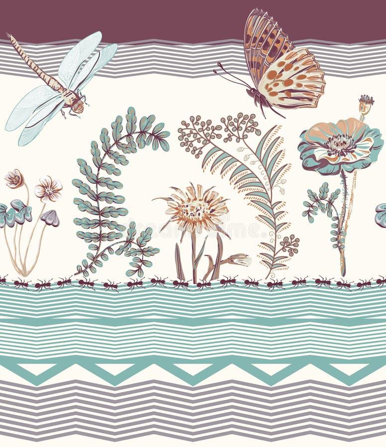 Vector il confine senza cuciture floreale, la carta da parati variopinta con la libellula, le piante e la farfalla clipart di vet royalty illustrazione gratis