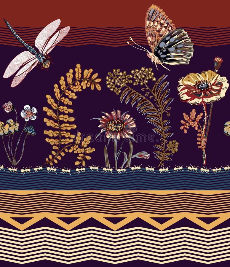 Vector il confine senza cuciture floreale, la carta da parati variopinta con la libellula, le piante e la farfalla clipart di vet illustrazione vettoriale