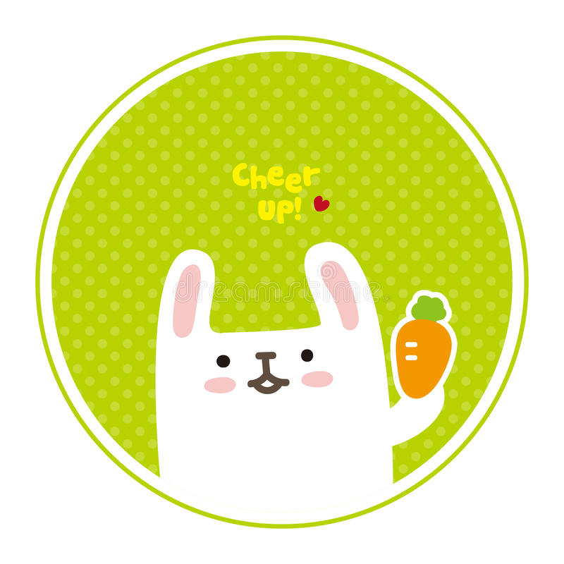 Vector il coniglio bianco sveglio, acclamazione per voi fotografia stock