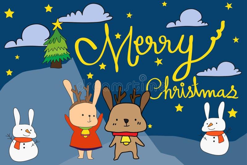 Vector il coniglio di Natale dell'illustrazione, il coniglio della neve, bambola disegnata a mano royalty illustrazione gratis