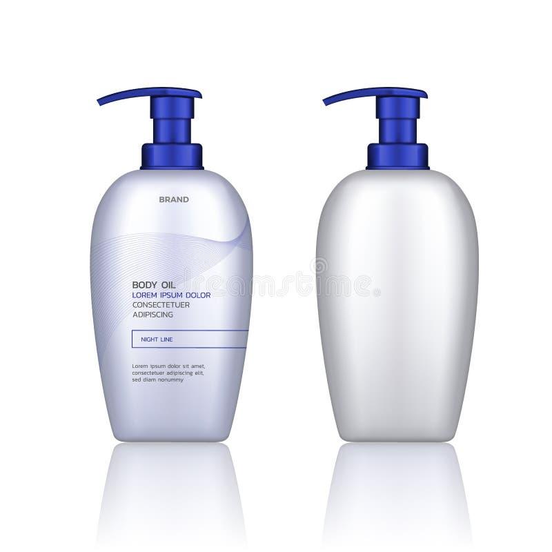 Vector il contenitore per i prodotti cosmetici isolati su fondo bianco e trasparente Svuoti alto falso Imballaggio di cura di pel illustrazione vettoriale