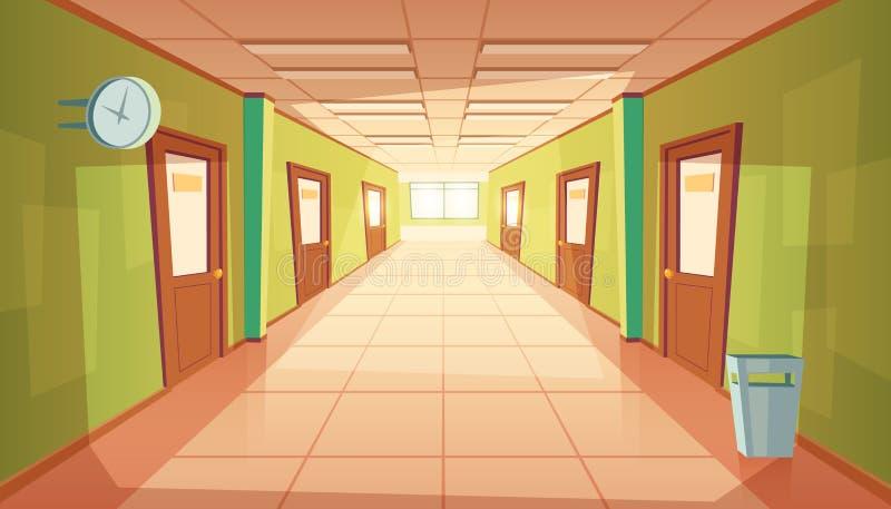 Vector il corridoio della scuola o dell'istituto universitario del fumetto, corridoio dell'università illustrazione vettoriale