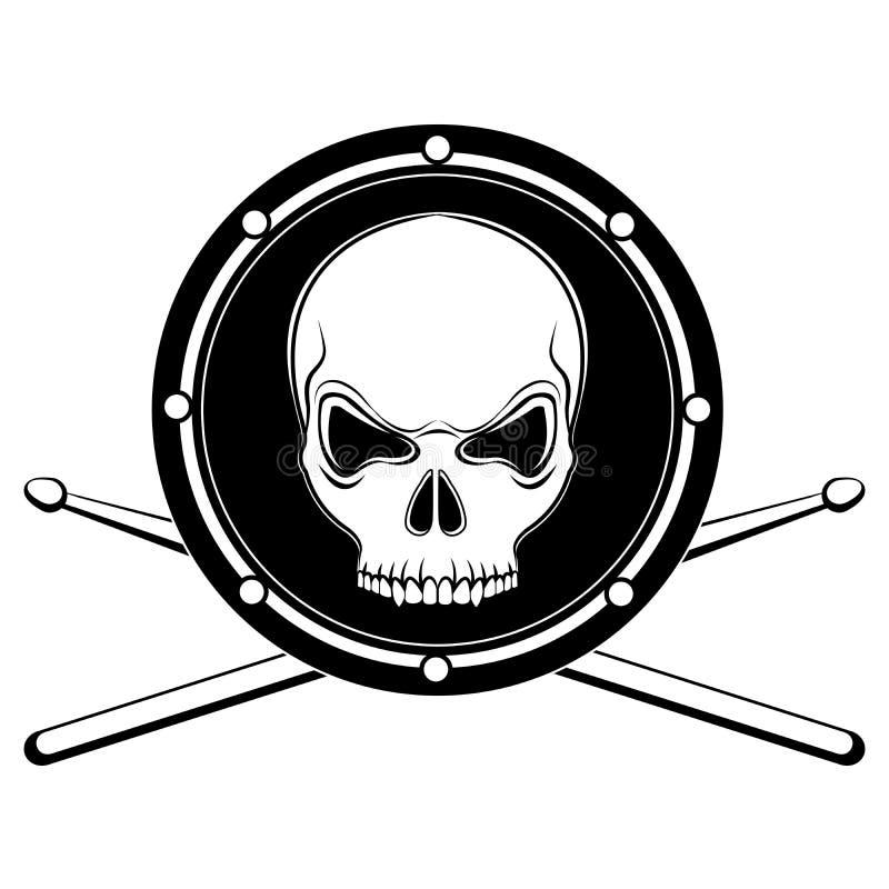 Vector il cranio allegro del tamburo di Roger con le bacchette illustrazione vettoriale