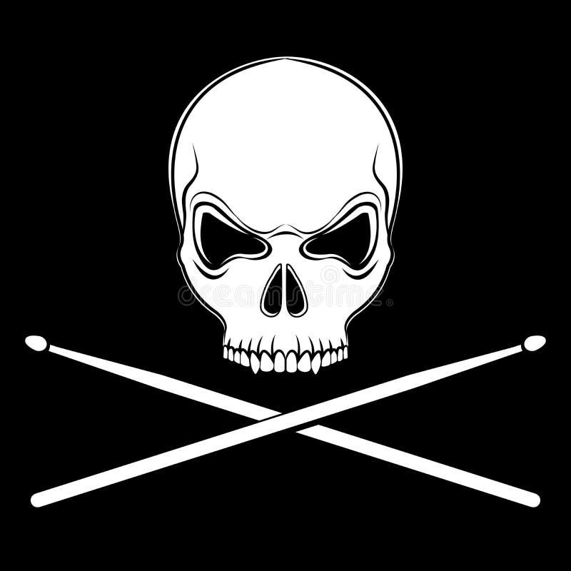 Vector il cranio allegro di Roger con le bacchette illustrazione vettoriale