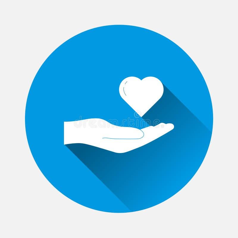 Vector il cuore della tenuta della mano dell'icona su fondo blu Immagine piana illustrazione vettoriale