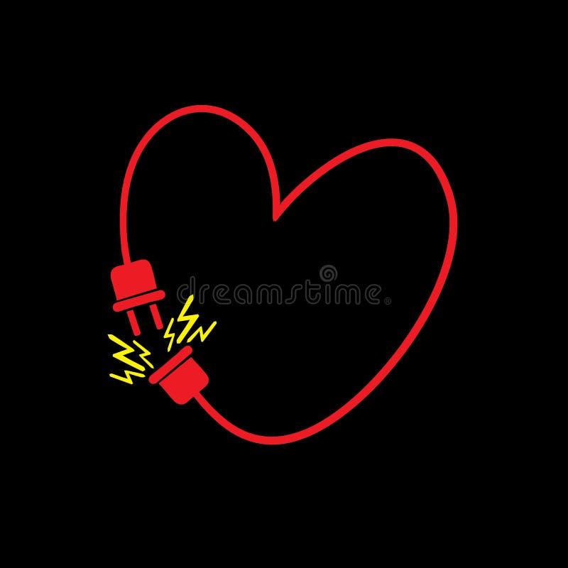 Vector il cuore fatto dalla linea elettrica con la spina immagine stock
