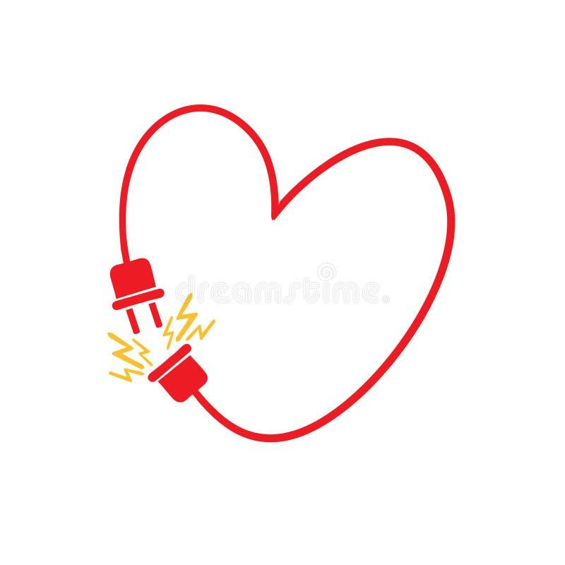 Vector il cuore fatto dalla linea elettrica con la spina fotografia stock