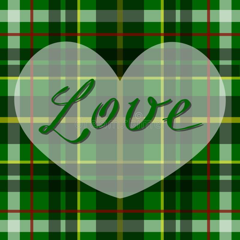Vector il cuore scozzese romantico del tartan in verde, nel bianco e nel nero Progettazione celtica britannica o irlandese per l' illustrazione di stock