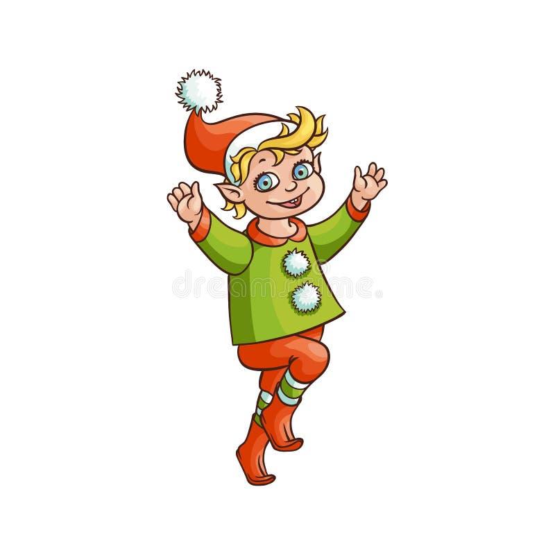 Vector il dancing o il salto piano del ragazzo dell'elfo isolato illustrazione di stock