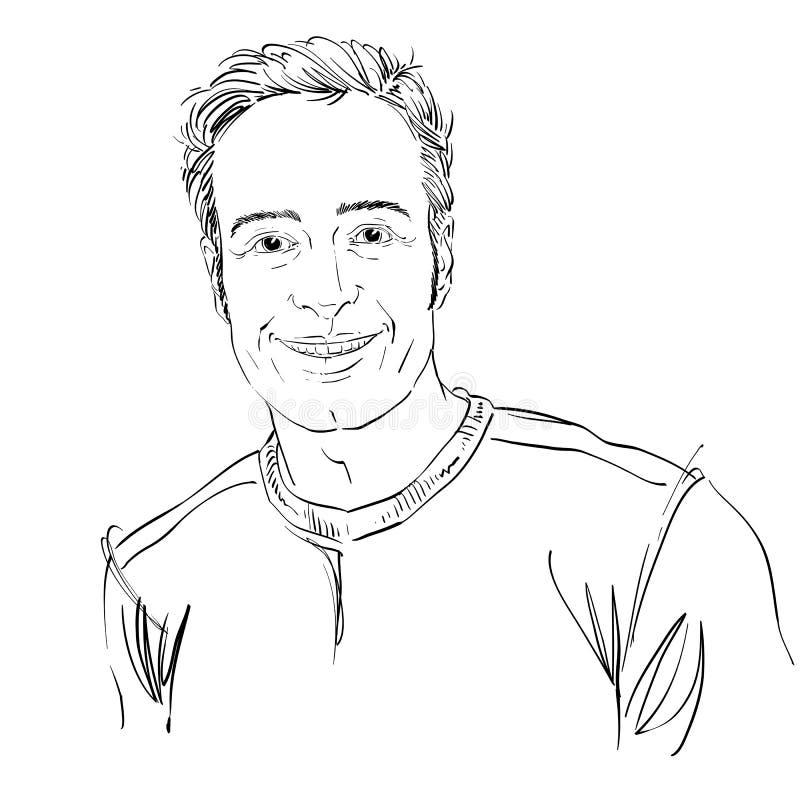 Vector il disegno di arte, ritratto del tipo allegro sorridente isolato su wh illustrazione di stock