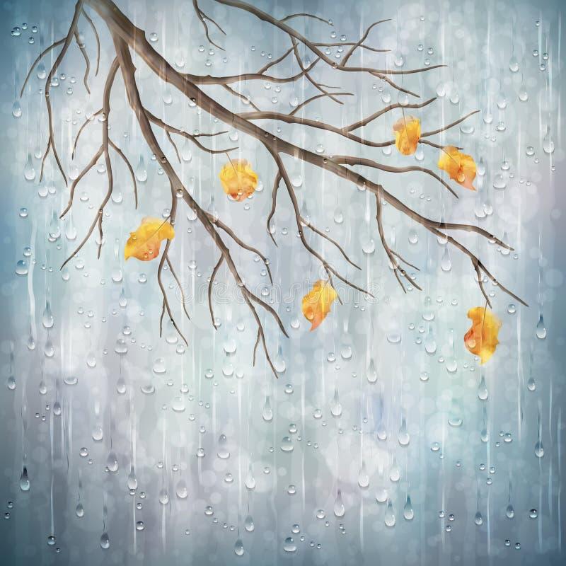 Vector il disegno naturale artistico del tempo della pioggia di autunno illustrazione di stock