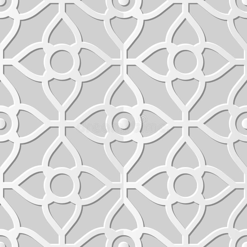 Vector il fiore trasversale della carta 3D del damasco di arte del modello della curva senza cuciture del fondo 342 illustrazione vettoriale