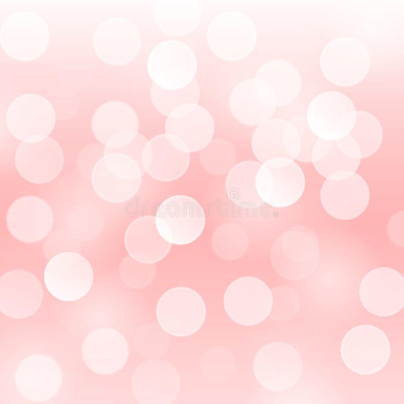 Vector il fondo astratto con le luci rosa-chiaro defocused vaghe del bokeh illustrazione vettoriale