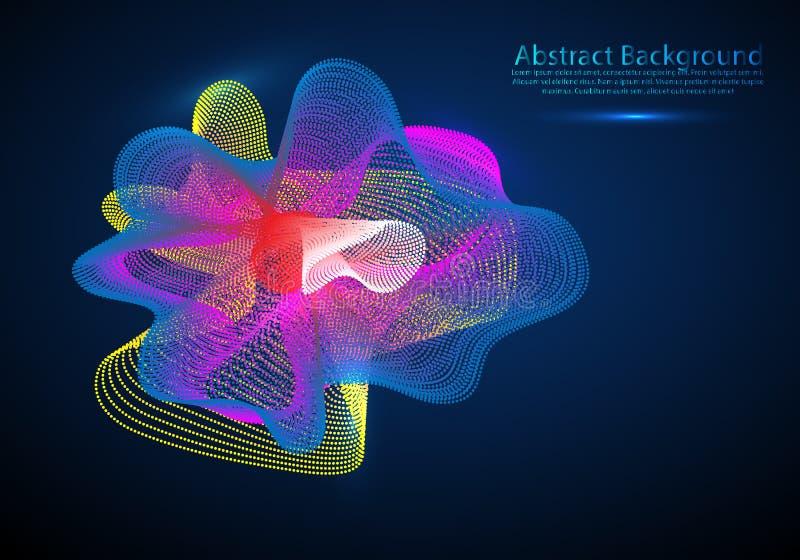 Vector il fondo astratto con onde, linea e particelle dinamiche colorate Illustrazione adatta a progettazione illustrazione di stock