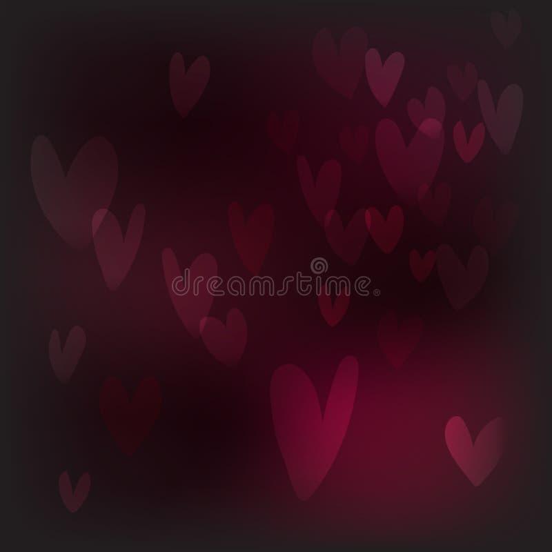 Vector il fondo astratto del bokeh del cuore, defocus festivo illustrazione vettoriale