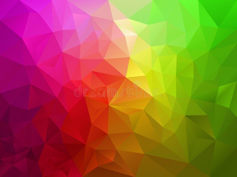 Vector il fondo astratto del poligono con un modello del triangolo nel colore verde rosa di spettro illustrazione di stock