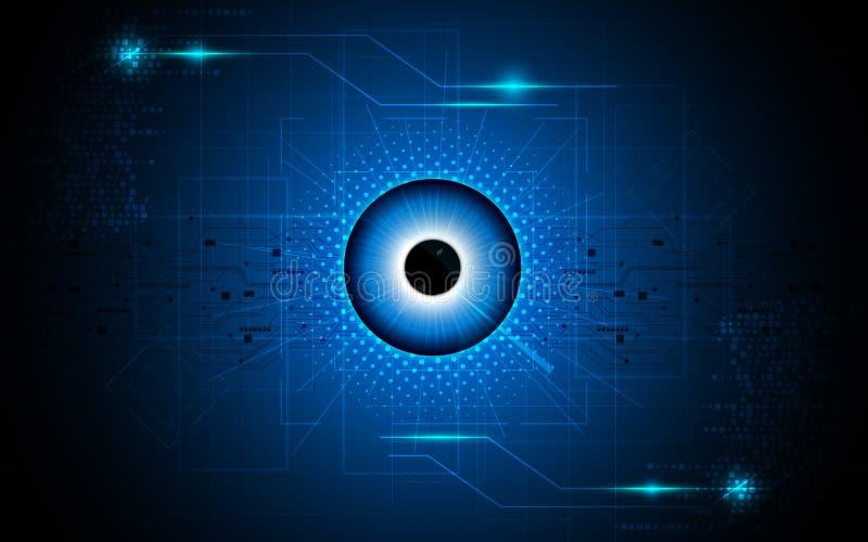 Vector il fondo astratto di concetto di fi di sci di tecnologia della visione del fuoco dell'occhio illustrazione vettoriale