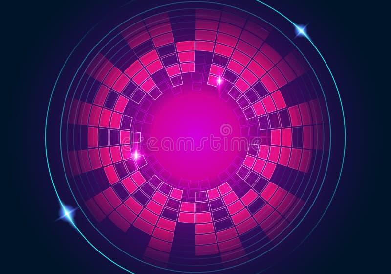 Vector il fondo circolare blu rosso astratto dell'equalizzatore dell'illustrazione illustrazione di stock