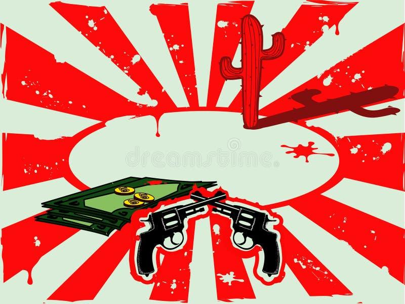 Vector il fondo con i revolver, i soldi ed il cactus nel deserto immagini stock