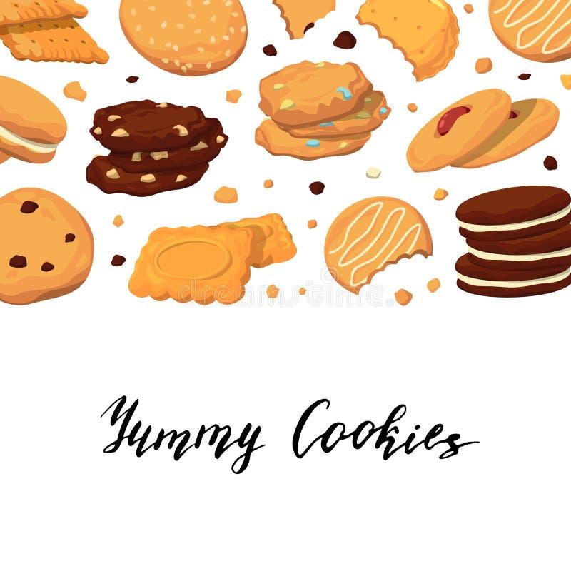 Vector il fondo con iscrizione e con i biscotti del fumetto illustrazione di stock