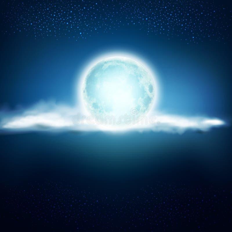Vector il fondo con una luna piena e le nuvole su un BAC blu scuro illustrazione vettoriale