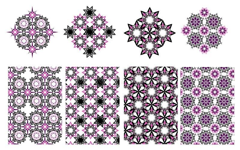 Vector il fondo decorativo etnico floreale ed il modello geometrico illustrazione vettoriale