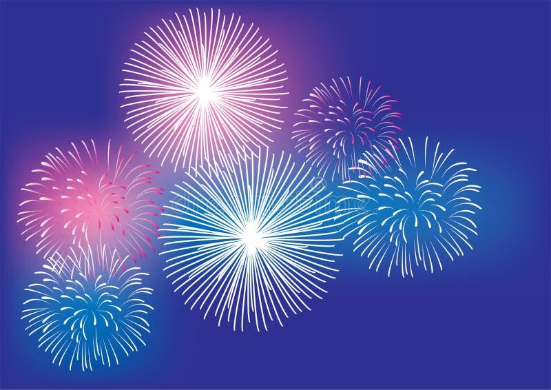 Vector il fondo dei fuochi d'artificio il il quarto luglio, i nuovi anni, fondo variopinto di Natale royalty illustrazione gratis
