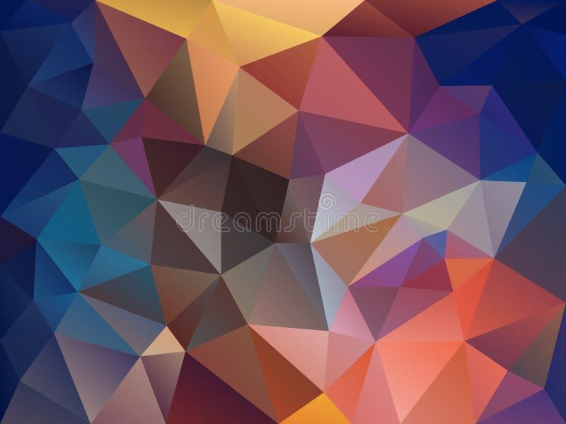 Vector il fondo del poligono con un modello del triangolo nello spettro di colore pieno e del blu royalty illustrazione gratis