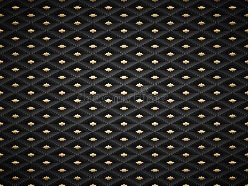 Vector il fondo di plastica di griglia del modello impresso il nero con l'elemento dorato dell'inserzione Geometrico scuro delle  illustrazione vettoriale