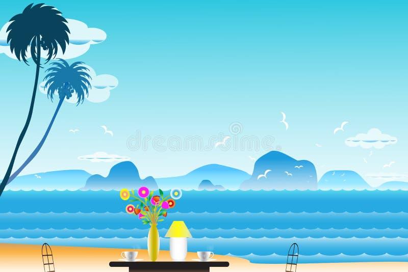 Vector il fondo di vista sul mare dell'illustrazione con caffè vicino ai vasi a illustrazione di stock