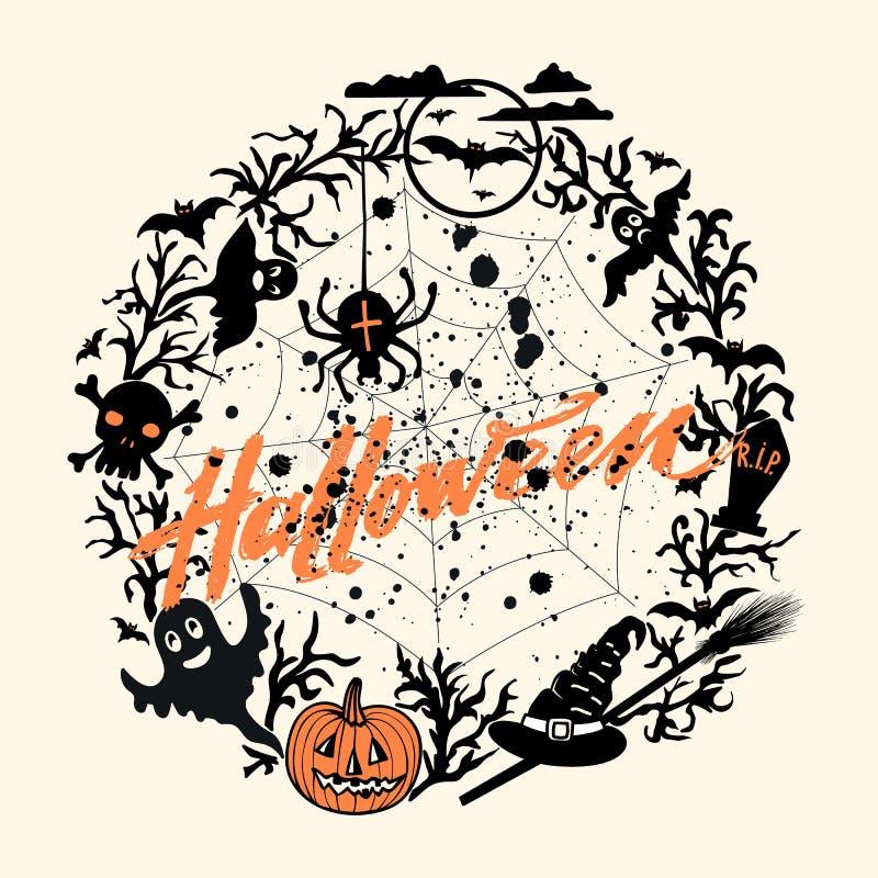 Vector il fondo felice di Halloween con la zucca arancio e Halloween d'iscrizione disegnato a mano, macchie di sangue nere, volan royalty illustrazione gratis
