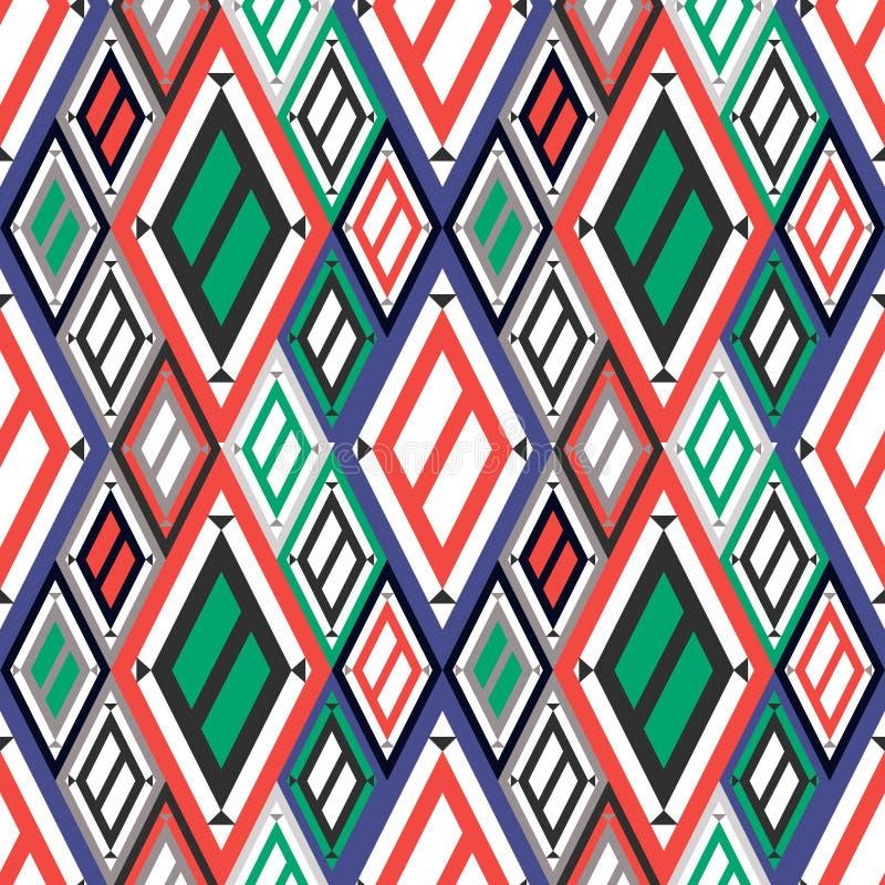 Vector il fondo geometrico ornamentale decorativo con il rombo asimmetrico nei colori blu, rossi e verdi illustrazione di stock