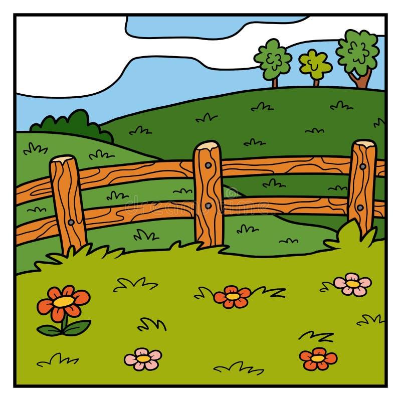 Vector il fondo, il pascolo, il campo ed il recinto di colore royalty illustrazione gratis
