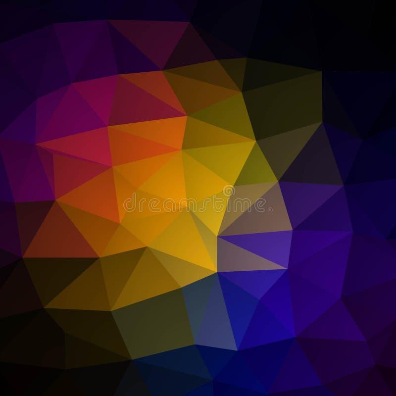 Vector il fondo irregolare astratto del poligono con un modello del triangolo nello spettro di colore pieno dell'arcobaleno ENV 1 illustrazione di stock